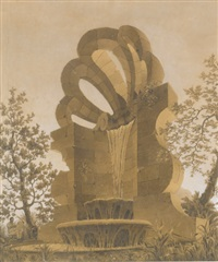 a fountain in a landscape, with pierced stylized shell, and an artist seated to the lower left by emilio terry