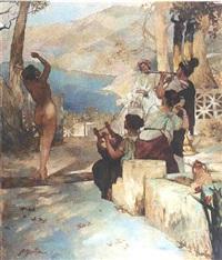 danseuse face à la cour à pompei by emile pierre metzmacher