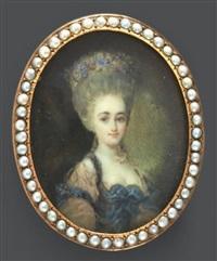portrait d'une dame de qualité en robe de soie rose et rubans bleus à très haute perruque remontée et piquée de fleurs en couronne by antoine vestier