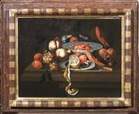 natura morta con uva, pesche, ciliege, fichi e limone by martinus nellius