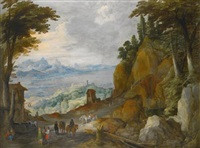 a mountainous landscape with travellers on a path, a lake and harbour beyond by philips de momper the elder