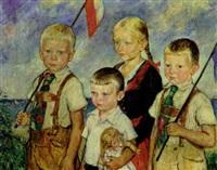 mädchen mit ihren drei brüdern by heinrich linde-walther