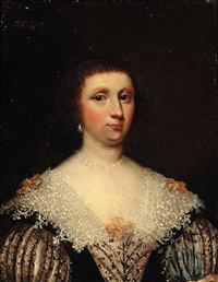 portrait of a lady in a lace-edged dress by daniel haringh