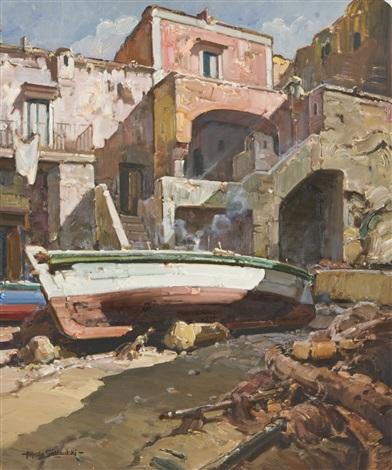 paesaggio con barca by alfredo sablautzki