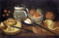 an earthenware tankard, a partly-peeled lemon, a ladle with eggs, apples and pears in a bowl, bread and a knife on a table by mateo cerezo