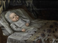 portrait of a baby, in lace costume lying upon a bed by anglo-dutch school (17)
