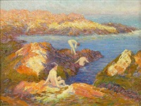 bathers amongst the rocks in a cove by frederick carl smith