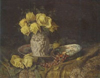 a still life with yellow roses by nel (nelius) grönland