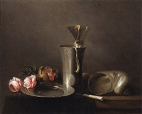 a still life with roses, a nautilus shell, a beaker and a roemer with a peeled lemon and a pomegranate on a partially draped table by david davidsz de heem the younger