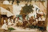 scène de marché, tunisie by georges lemare
