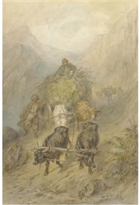 cossacks with an ox-cart in the mountains by konstantin nikolaevich filippov