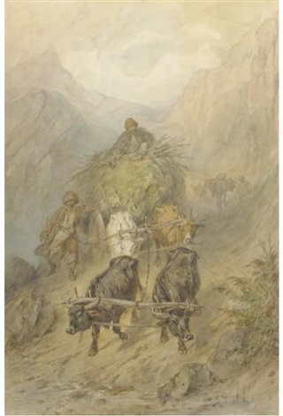 cossacks with an ox cart in the mountains by konstantin nikolaevich filippov