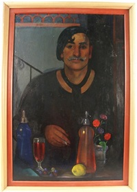 portrait of an artist at a bar by norbert heermann