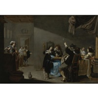 card players and merrymakers in an interior by jacob duck