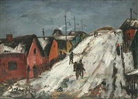 a village in winter by vaclav bartovsky