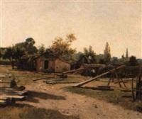 sommarmotiv med arbetande timmermän by eugène baudouin