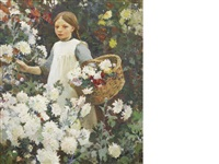 picking chrysanthemums by harold harvey