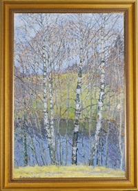 birch trees by the water by valerian formozov
