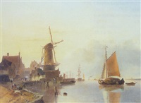 estuary scene by jan hendrik willem hoedt
