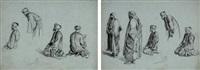 deux feuilles d'études avec personnages orientaux en prière (2 studies) by alexandre bida