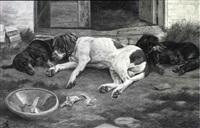 pointer og to gravhunde får sig en lur på gårdspladsen by johannes resen-steenstrup