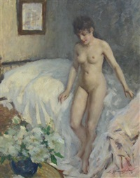 le lever (a female nude standing by a bed) by lucien henri grandgerard