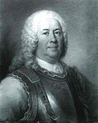 portrait of general major gaspard fontenay, bust length,  wearing a breast plate by david miller