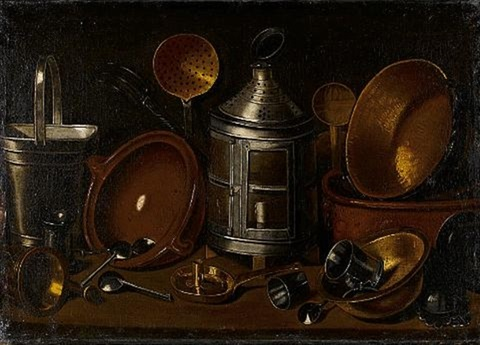 a lantern with copper pans an earthenware dish and other kitchen utensils on a table top by giovanni domenico valentino