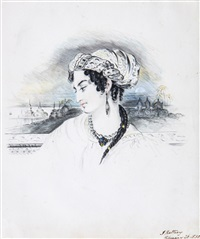 bust profile portrait of an afghan lady, with city at dusk beyond by james rattray