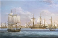 nelson, in victory, arriving at st. john's harbour, antigua, on 12th june 1805, after abortively chasing admiral villeneuve's french fleet across the atlantic; finding the french gone, nelson dispatches the fast brig curieux (shown in the foreground) back by louis dodd