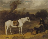 a sportsman in a landscape with his pony and dogs by william smith