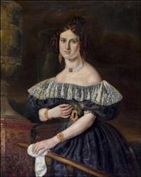 juhlapukuisen naisen muotokuva - porträtt av en kvinna i festdräkt by carl petter mazer
