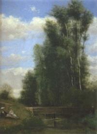 paysage by joseph nichols hippolyte aussandon