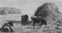 cattle by a haystack by edward burrill