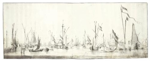 the dutch fleet at anchor on 2 sheets by willem van de velde the elder