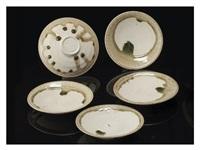 iga-glazed small dish five-pieces set by rosanjin kitaoji