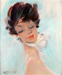 portrait de femme aux boucles d'oreille bleues by jean-gabriel domergue