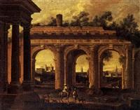 paesaggio con architetture classiche e figure by alessandro salucci