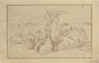 cupid making music while standing in venus's boat pulled by swans by bonaventura genelli