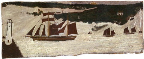 schooner passing a lighthouse by alfred wallis