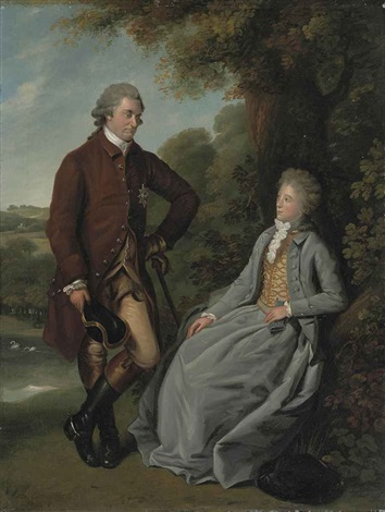 portrait of a nobleman and his wife he in a brown coat with the star of the garter buff breeches and riding boots she in a grey dress by william austin