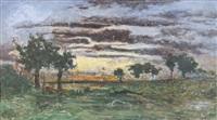coucher de soleil sur l'étang by marie guillaume charles leroux