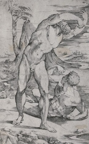 two male nudes in a landscape by domenico beccafumi