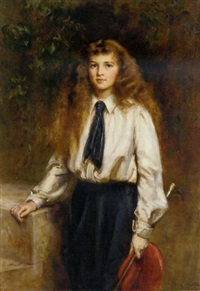 portrait of molly, daughter of the late sir arthur pease, bt., in a riding habit, holding a riding crop by mary lemon waller
