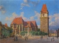 perchtoldsdorf, pfarrkirche und wehrturm by carl gödel