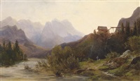 flusslandschaft mit staffage by julius lange