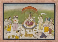 an illustration form the markendeya purana: adoration of durga by anonymous-indian (19)