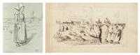 paysanne normande (2 works) by paul huet