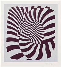 zebra couple (silver, orange, blue) (3 works) by victor vasarely