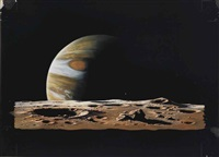 jupiter rises above the jovian moon io by ludek pesek